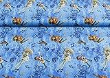 Exzellenter Little Darling Jersey Stoff mit Coco aus dem gleichnamigen Kinofilm auf blau | Maße: 25 cm x ca. 145 cm | 1A ÖKO-TEX Qualität Standard |