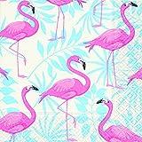Servietten (2er Set / 40Stück) 3-lagig 33x33cm Sommer Muster (Flamingo Garden)