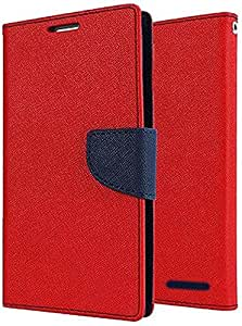 FINDX Luxury Wallet Style Flip Cover Case for Micromax Canvas Elanza 2 A121 -Red