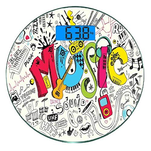 Digitale Präzisionswaage für das Körpergewicht Runde Musik Ultra dünne ausgeglichenes Glas-Badezimmerwaage-genaue Gewichts-Maße,Pop Art Featured Doodle Style Musikalische Untermalung mit Instrumenten - Doodle-pop-art