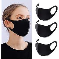 YMHPRIDE 3 Packs Anti Poussière Masque Bouche Visage Mode Masque Noir Masques Lavables et Réutilisables pour Femmes et…