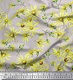 Soimoi Grau Seide Stoff Gänseblümchen Blume Stoff