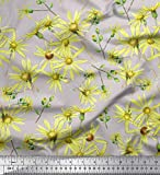 Soimoi Grau Viskose Chiffon Stoff Gänseblümchen Blume