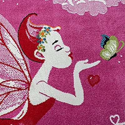 Children'S Rug Pink Fairy Princess Children Rugs For Girls Fuchsia Pink - inexpensive UK light store.