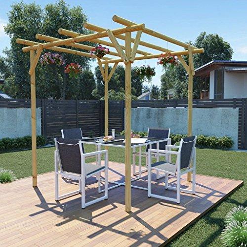 Tidyard Pérgola para Jardin Cenador para Jardin Arco de Jardin para Plantas Arco para Rosas Arco de Flores para Jardín Patio Terraza Madera de Pino Verde Impregnada 2x2x2m