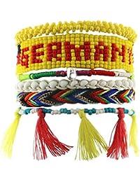 Sweet Deluxe Damen Armband Messing rhodiniert Stoff 19 cm mehrfarbig 03613
