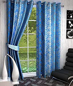 Home Pictures Floral Desine Polyester Curtains (Set of 2) Door - 4 x 7 Feet.