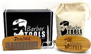 ✮ BARBER TOOLS ✮ Kit / Coffret d'entretien et de soin pour Barbe. Peigne barbe + Brosse barbe 100% en poils de sanglier + Ciseaux de précision + sac de rangement avec sa boite premium. Le cadeau idéal pour les hommes barbus