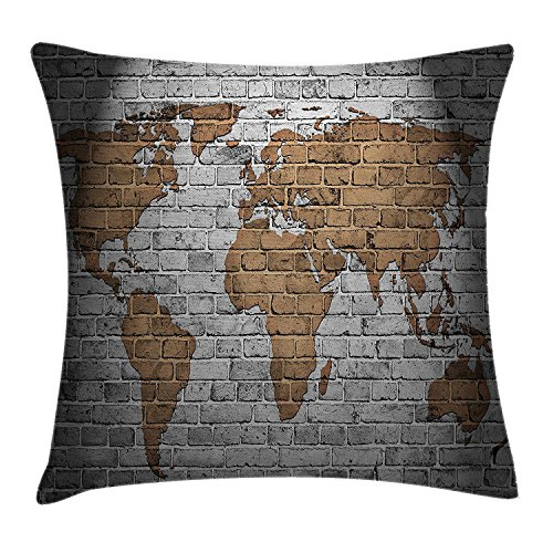 fjfjfdjk World Map Old Brick Wall Countries Continents Creative Aged Vintage RoughWanderlust Throw Pillow Cushion Cover Decorative Square Accent Pillow Case 18 X 18 Inches Brown and Grey