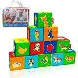 MACIK 12 Cubes Mousse Enfants –Ferme + Zoo + Mer- Cubes à empiler bébé – Jouet éveil bébé – Cube développement motricité – Jo