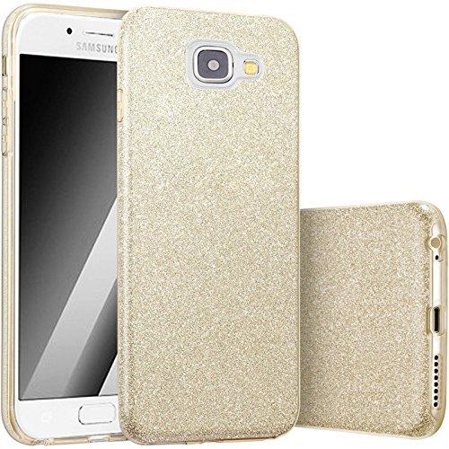 Hot Pink Hard Case (FINOO   Samsung Galaxy A5 2017 Rundum 3 in 1 Glitzer Bling Bling Handy-Hülle   Silikon Schutz-hülle + Glitzer + PP Hülle   Weicher TPU Bumper Case Cover   Gold)