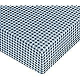 AmazonBasics - Sábana bajera ajustable (microfibra, 90 x 200 x 30 cm) Cuadros azules