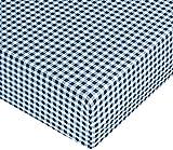 AmazonBasics Spannbetttuch, Mikrofaser, Bauernkaro, 140 x 200 x 30 cm