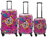 Packenger One World by Della 3er-Koffer, Trolley, Hartschale set in Pink, Größe M, L und XL