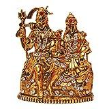 #3: Brass 24k Gold Plated With Stones Hindu God Shiv Parivar Handicraft Idol Lord Shiva Family Statue ( Bhole Baba / Mahadev , Parvati , Ganesh , Kartikeya & Nandi) Decorative Spiritual Puja Vastu Showpiece Figurine - Religious Pooja Gift Item & Murti for Mandir / Temple / Home / Office