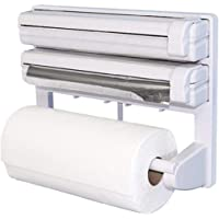 Trisha 3 in 1 Wrap Center Holds Silver Foil, Plastic Wrap, and Paper Towels / 3 in 1 Kitchen Triple Paper Dispenser…