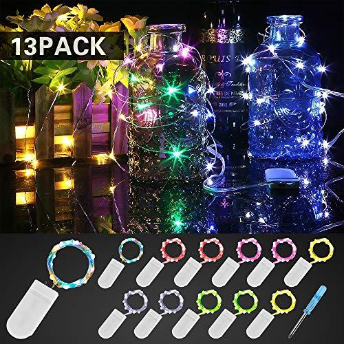 Etmury Led Lichterkette mit Batterie, 12 Stück 2M 20 LED Drahtlichterkette, 3000K IP68 Wasserdicht Lichterkette, Micro-Lichterkette 6 Farben für Innen Außendeko, Hochzeit, Weihnachten