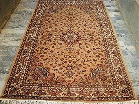 Rectangle Area Rugs Beige Tan Flowral Hand Knotted Silk Wool Carpet (8 x 5)'