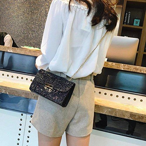 BZLine® Frauen Mädchen Leder Crossbody Schultertasche mit Kette Bling Pailletten Tasche Schwarz
