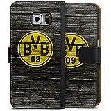 Samsung Galaxy S6 Flip Tasche Schutz Hülle Walletcase Bookstyle Borussia Dortmund BVB Holzoptik