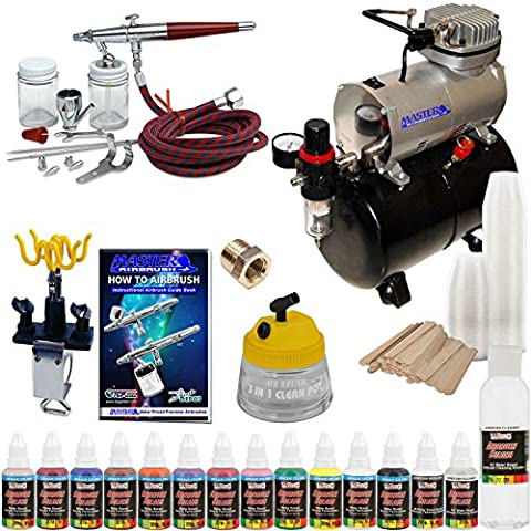 Paasche VL Airbrush Paint Set with Compressor with 12 Color US Art Supply Paint Set by Master Airbrush