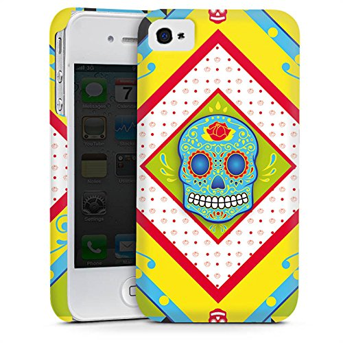 Apple iPhone 6 Housse Étui Silicone Coque Protection Tête de mort Maya couleur Motif Cas Premium mat