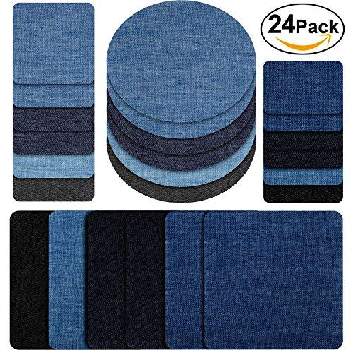 Ayam Patches zum aufbügeln, 24 Stück 4 Farben Denim Baumwolle Patches Bügeleisen Reparatursatz Aufbügelflicken Bügelflicken jeans flicken aufbügeln 4 Größen