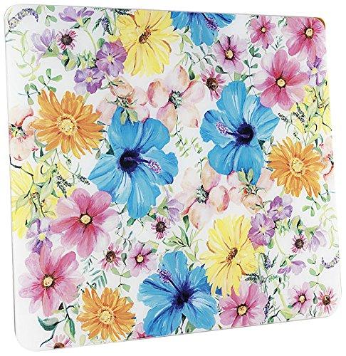 WENKO 2712928500 Multi-Platte Blütentraum - für Glaskeramik Kochfelder, Schneidbrett, Gehärtetes Glas, 56 x 0.5 x 50 cm, Mehrfarbig