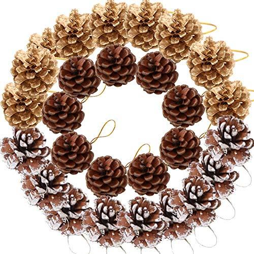 LOTONJT Lot de 12 Pommes de pin Noire, Pommes de pin, Pommes de pin Naturelles, décorations de Noël
