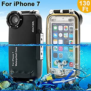 Unterwasser Fall Underwater case For iPhone 7 AIGUMI 40M Diving Case Tauchen Wasserdichte Telefon Tasche IPX8 wasserdichtes Gehäuse mit 32mm Gewinde (schwarz, IP7)