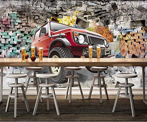 WH-PORP Benutzerdefinierte 3D Wall Murals Tapete Auto Geländewagen 3D Stereoskopische Tapete Wohnzimmer Bar Restaurant Coffee Shop Tapetes-300cmX210cm