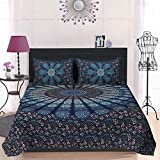 Pure Comfort 120 TC Cotton Double Bedsheet with 2 Pillow Covers - Floral, Blue