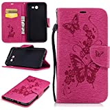 J7 2017 Case,Samsung J7 2017 Case,Galaxy J7 2017 Case,Samsung Galaxy J7 2017 Case,For Samsung Galaxy J7 2017 Cover [Rose Red Butterfly],Cozy Hut Magnetic Flip Book Style Cover Case For Samsung Galaxy J7 2017 ,High Quality Vintage Genuine Scrub Printed PU Leather Magnetic Flip Protection Case Cover Wallet Pouch With [Lanyard Strap] and [Credit Card Slots] Stand Function Folio Protective Holder Perfect Fit For Samsung Galaxy J7 2017 - Rose red butterfly