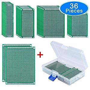 AUSTOR 36 Piezas Prototipo de doble cara Placa PCB (5 tamaños) con Caja
