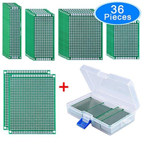 AUSTOR 36 Pièce Plaque Circuit Imprimé Double Face Prototype Carte PCB Universelle Avec Boîte Gratuite, 5 Tailles Pour le Projet de Soudage et de Bricolage électronique