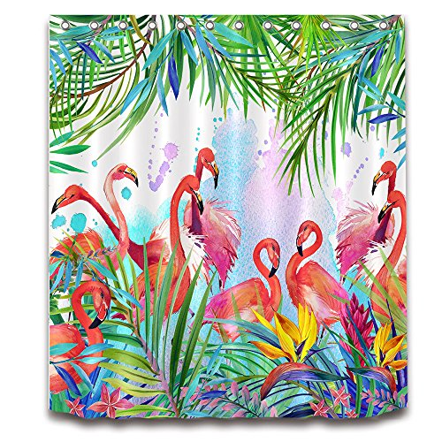 Flamingo Palm Banana Leaves Blumen wasserdicht Baden Vorhänge Dusche Liner antibakteriell und Schimmelresistent Polyester Bad Badezimmer Waschraum WC WC-Vorhang Dekor mit 12Haken 01, Polyester, 07, 180x180
