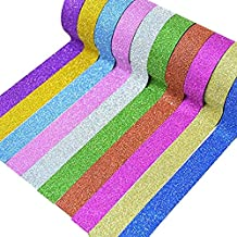 10 Colorati Nastri Adesivi Glitter Washi Tape Set Nastri Decorativi Washi Carta per Mascheratura Scrapbooking