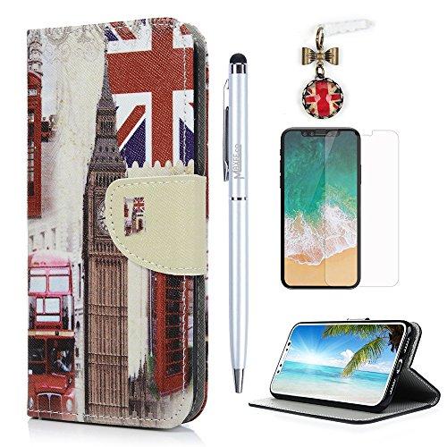 MAXFE.CO Schutzhülle Tasche Case für iPhone X PU Leder Flip Tasche Cover Gemalt Muster im Ständer Book Case / Kartenfach Bunt Muster Englisch