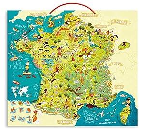 Vilac 50 X 44,5 X 1 cm Mapa de Francia Magnetic Puzzle Olivier (93 Piezas)