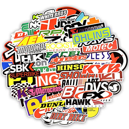 Inveroo 100 Pcs Racing Car Sticker Auto Styling JDM Wasserdichter Aufkleber Für DIY Motocross Racing Helmet Skateboard-Fahrrad Laptop