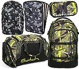 satch pack Jungle Lazer 5er Set Rucksack, Sporttasche, Schlamperbox, Heftebox & Regencape Schwarz