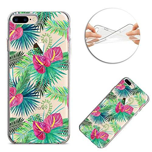 Housse iPhone 7 Plus / iPhone 8 Plus TPU Coque Case, Sunroyal Ultra mince Ultra léger TPU 3D Pignons de Pin Guirlande Pattern Design de avec Clear Colorful Motif Rouge et Vert Fleurs Arbre de fées Bum Motif 03
