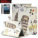 iPad Air Case, TabPow [Cute Smart Case] PU Leather Flip Case [Card Slot Case] [Magnetic Closure] Stand Smart Cover [Auto Sleep Wake] For Apple iPad Air / iPad 5th Generation, Italy Tower of Pisa