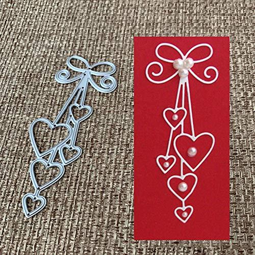 en, Love Heart Bow Tie Metall Stanzformen DIY Scrapbook Papier Karten Album Schablone - Silber ()