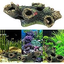Malloom Fish Tank adorno ornamento del acuario paisaje de la decoración (Tronco (12 cm x 7 cm x 11 cm))