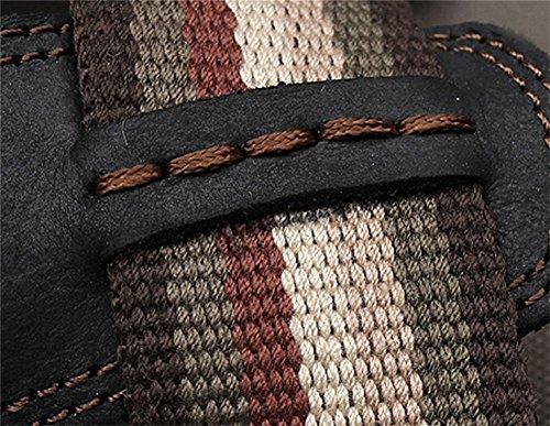 insun hommes de sangle de toile en cuir Sandales Noir - noir