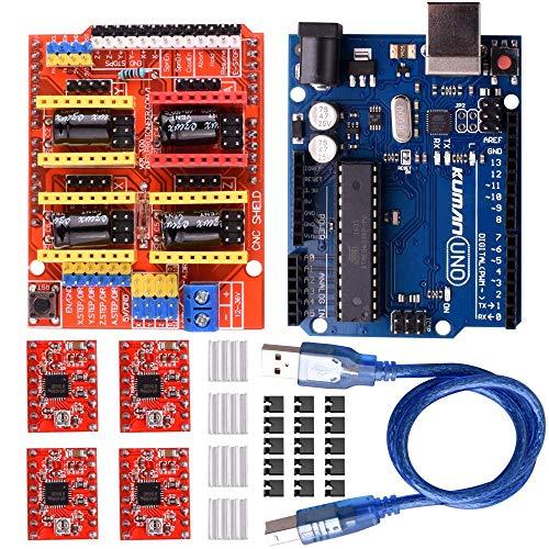 Kuman Kit CNC Arduino, CNC Shield V3.0 Scheda di espansione di Incisore + Scheda Uno-R3+ 4pcs A4988 Stepper Motor Driver con Dissipatore di Calore per 3D Printer K75