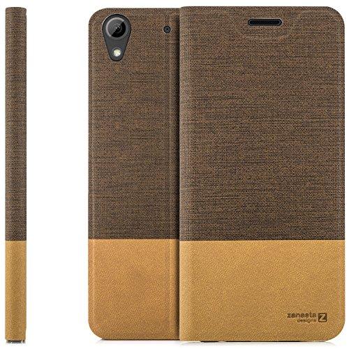 zanasta Designs Tasche HTC Desire 628 Dual Sim Hülle Flip Case Slim Schutzhülle Handytasche mit Kartenfach, Standfunktion | Hellbraun