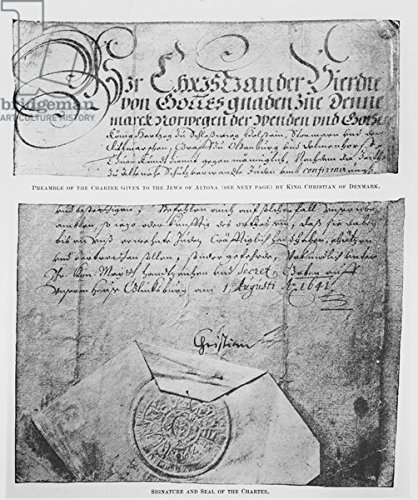 "Alu-Dibond-Bild 90 x 110 cm: ""Preamble, signature and seal of the Charter given to the Jews of Altona by King Christian of Denmark (pen & ink on paper and wax)\"", Bild auf Alu-Dibond"