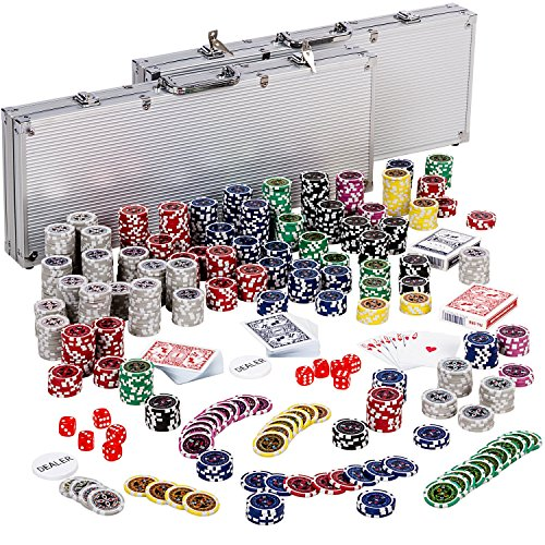 Ultimate Pokerset mit 1000 hochwertigen 12 Gramm METALLKERN Laserchips, inkl. 2x Pokerdecks, Alu Pokerkoffer, 5x Würfel, 1x Dealer Button, Poker, Set, Pokerchips, Koffer, Jetons (Poker Chips Werte)